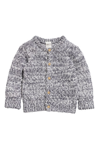 Chunky-knit cardigan - White/Black marl - Kids | H&M