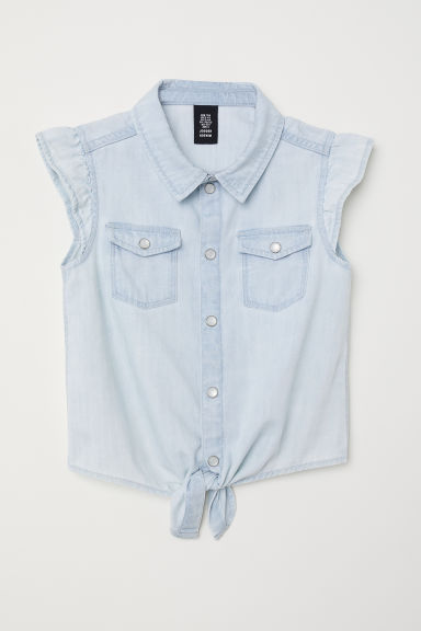 Tie-front denim blouse - Light denim blue -  | H&M CN