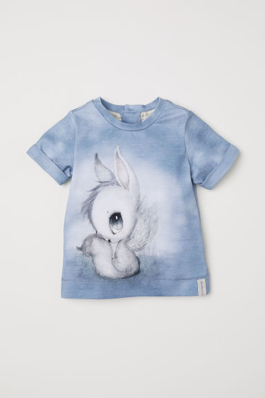 Printed T-shirt - Dusky blue - Kids | H&M CN