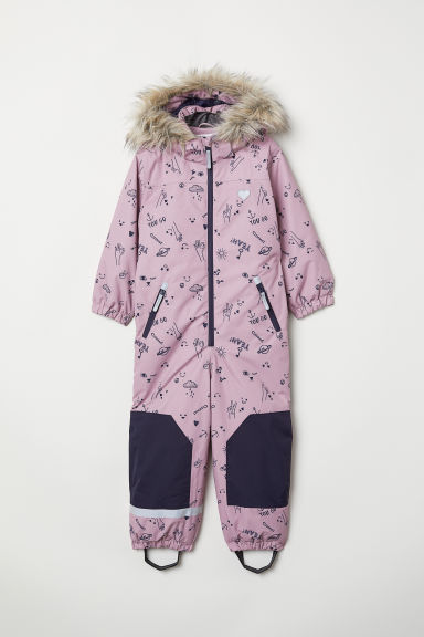 Padded outdoor all-in-one suit - Pink/Patterned - Kids | H&M