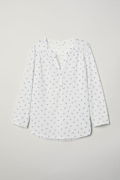 V-neck top - Natural white/Patterned - Ladies | H&M CN