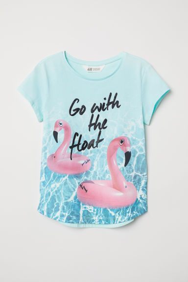Printed jersey top - Turquoise/Go With The Float - Kids | H&M