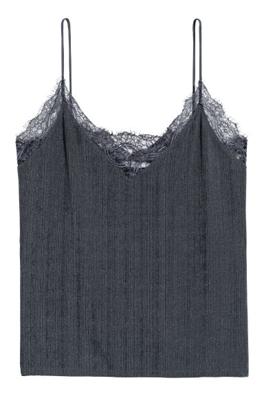 Jersey top with lace - Dark grey -  | H&M