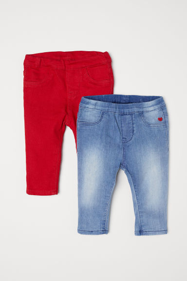 2-pack leggings - Red/Light denim blue - Kids | H&M