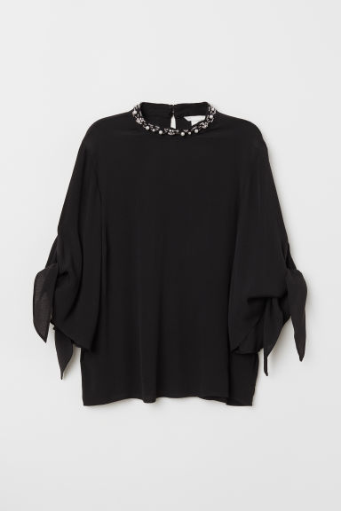 Blouse with a stand-up collar - Black -  | H&M