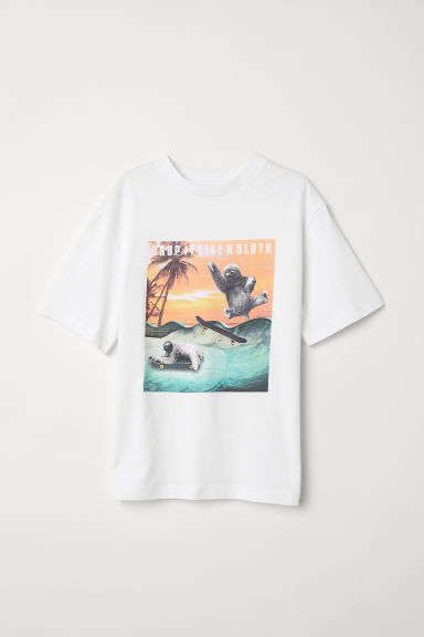 T-shirt with a motif - White/Drop It Like A Sloth -  | H&M CN