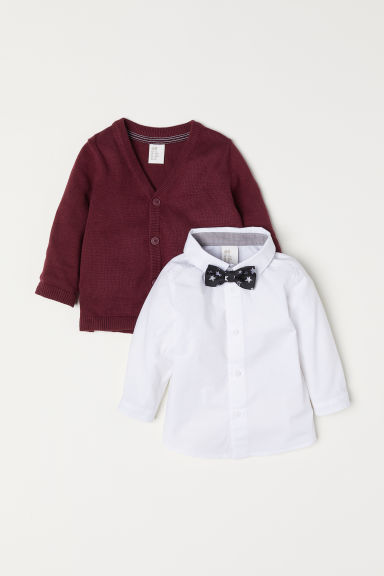 Shirt and cardigan - Dark red - Kids | H&M CN