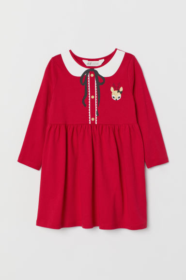 Printed jersey dress - Red/Reindeer - Kids | H&M