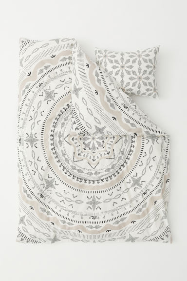 Patterned duvet cover set - White/Patterned - Home All | H&M CN