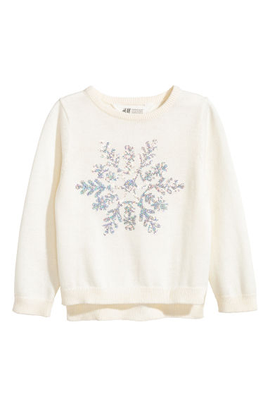 Sequined jumper - Natural white/Snowflake - Kids | H&M