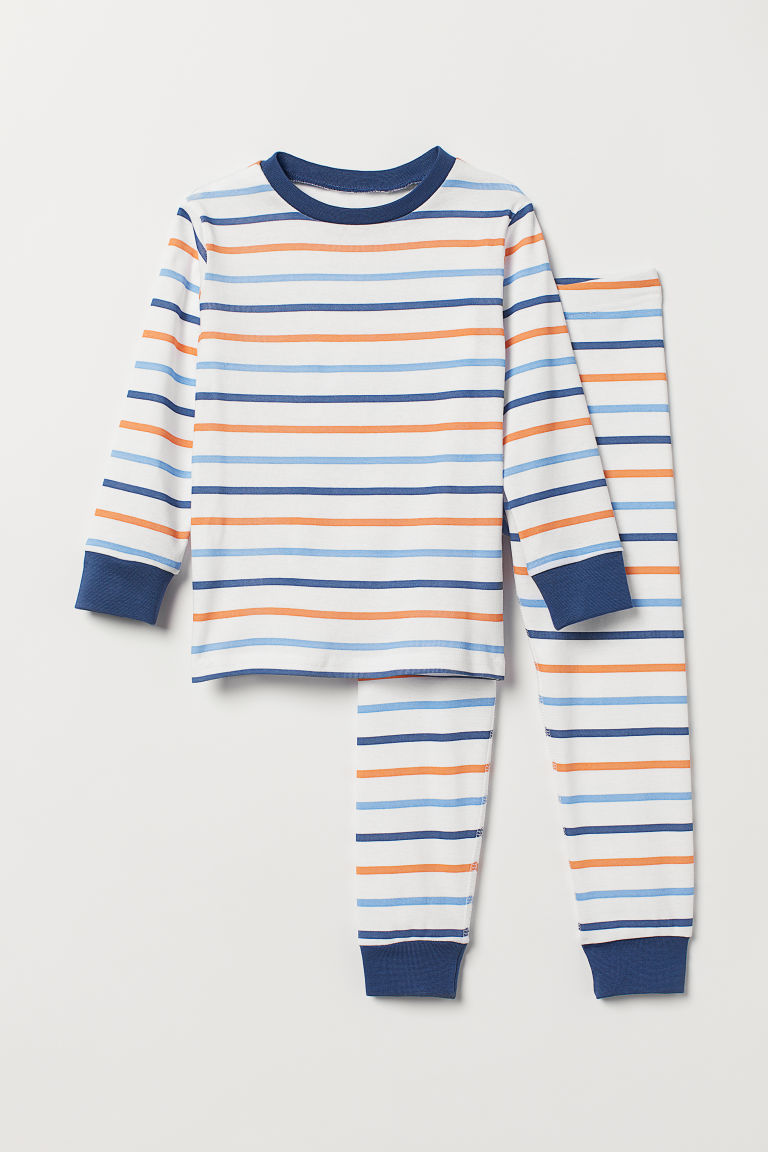 Jersey pyjamas - White/Striped - Kids | H&M CN