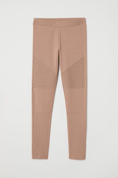 Jersey biker leggings - Dark beige - Ladies | H&M CN