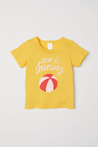Cotton T-shirt - Yellow/Beach ball - Kids | H&M CN