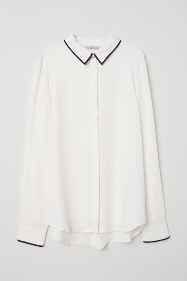 Long-sleeved blouse - Cream - Ladies | H&M