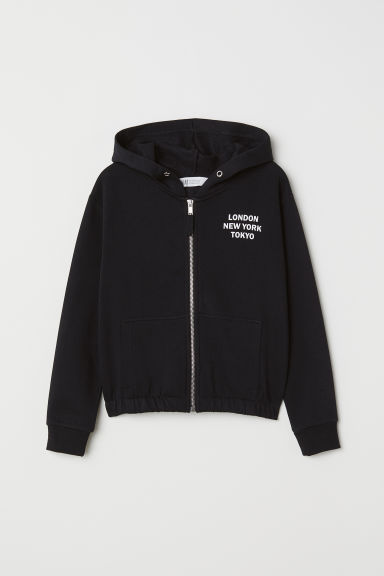 Printed hooded jacket - Black/London - Kids | H&M CN