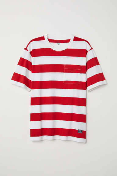 T-shirt with a chest pocket - Red/White striped - Men | H&M CN