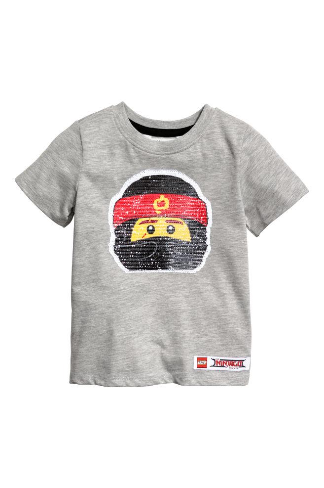 65d28f4d3ae Çift Yönlü Pullu Tişört - Gri kırçıllı Lego - ÇOCUK