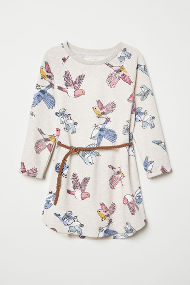 Sweatshirt dress - Light beige/Birds - Kids | H&M