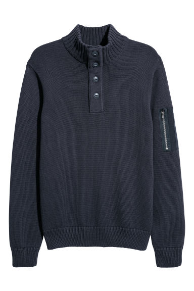 Knitted jumper with a collar - Dark blue -  | H&M