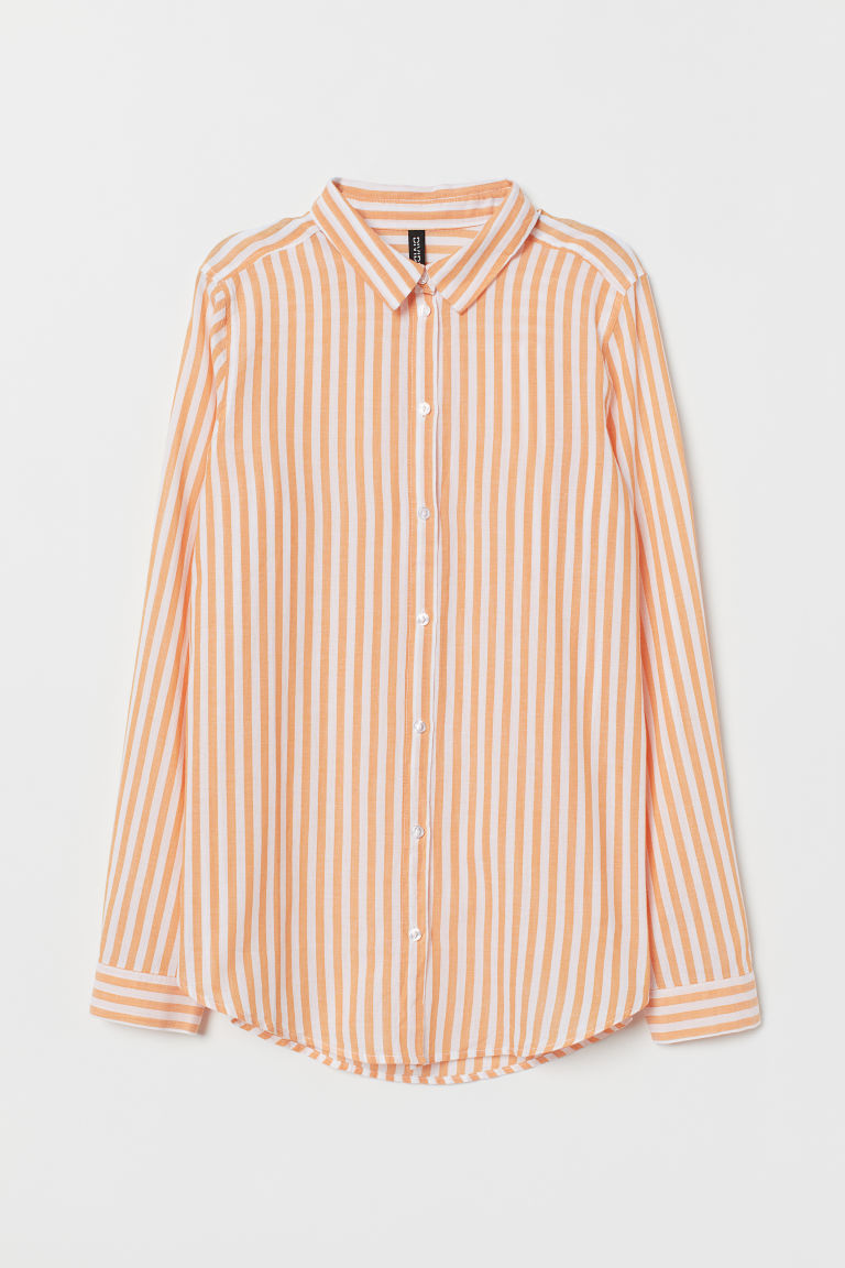 Cotton Shirt - Orange/white striped -  | H&M CA