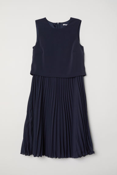 Pleated dress - Dark blue - Ladies | H&M CN