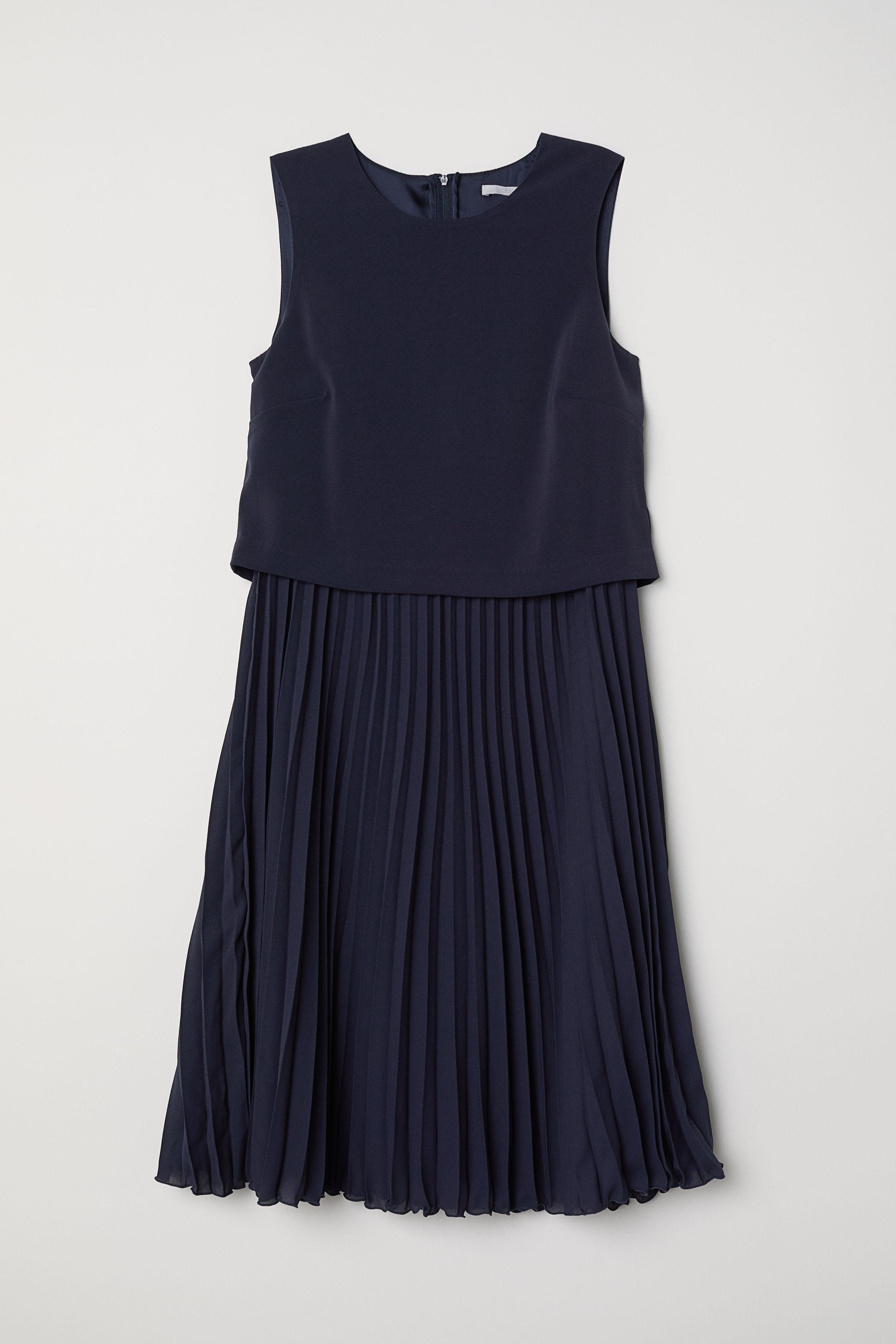 cf334a9fe9f Robe plissée - Bleu foncé - FEMME