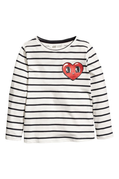 Printed jersey top - White/Striped - Kids | H&M