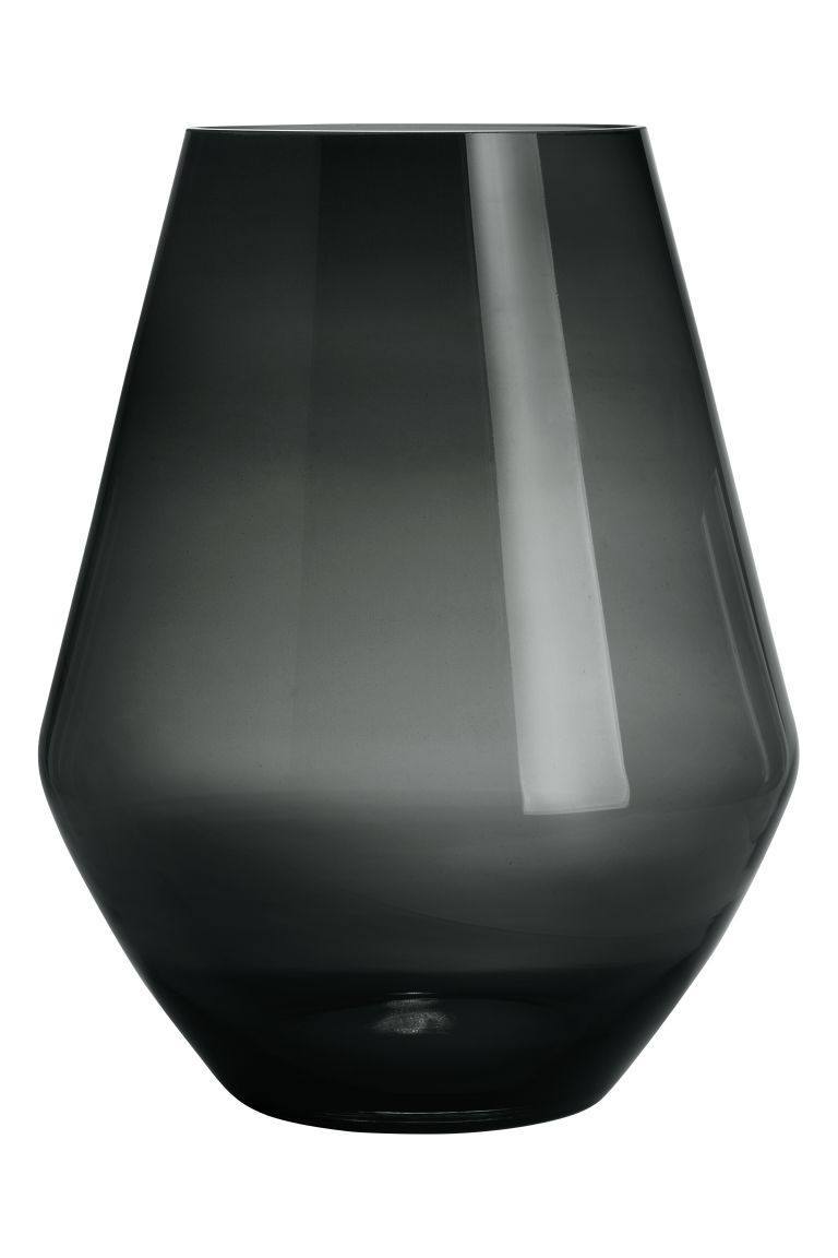 Large glass vase - Anthracite grey - Home All | H&M CN