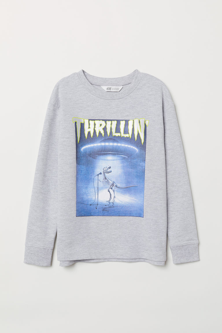 Printed sweatshirt - Light grey marl/Thrillin' -  | H&M CN