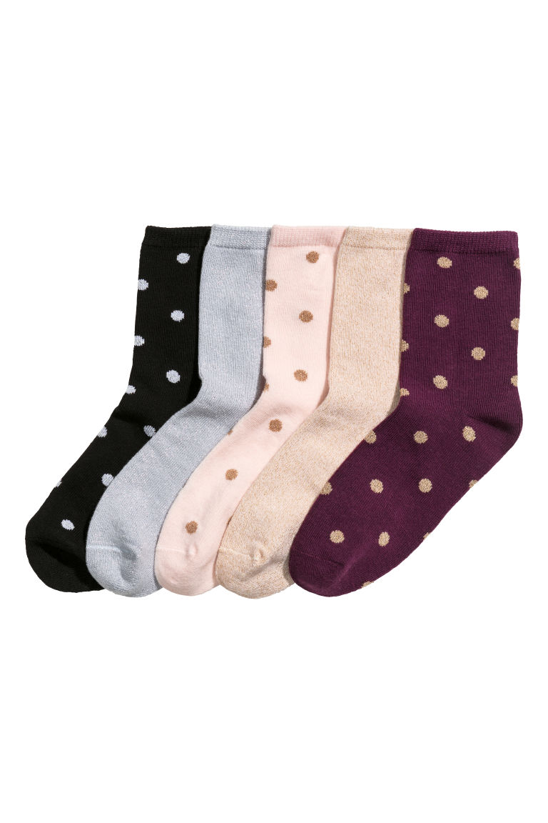 5-pack socks - Light pink/Spotted - Kids | H&M
