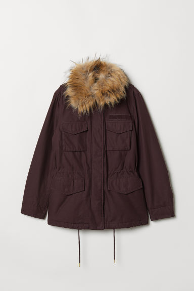 Short parka - Plum - Ladies | H&M CN