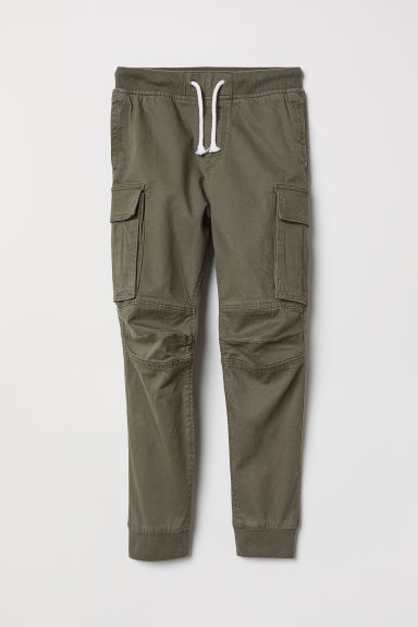 Cargo trousers - Dark khaki green - Kids | H&M CN