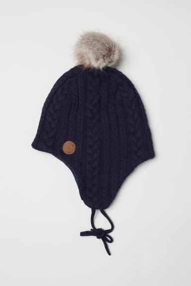 Cable-knit hat - Dark blue -  | H&M