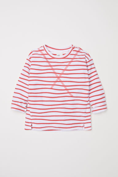 Jersey top - Natural white/Red striped -  | H&M CN