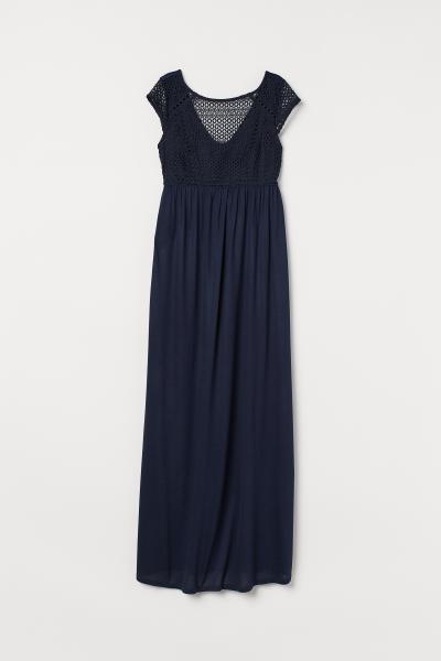 6e24af0d ... MAMA Kjole med blondeliv - Mørk blå - DAME   H&M ...
