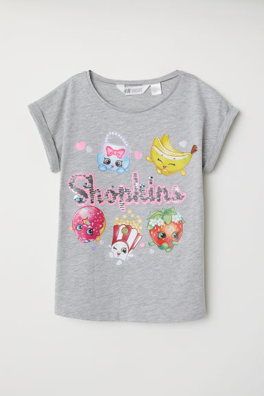 双面亮片T恤 - 混灰色/Shopkins - Kids | H&M CN