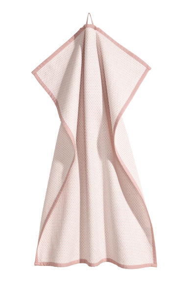 Textured-weave tea towel - White/Pink - Home All | H&M IE