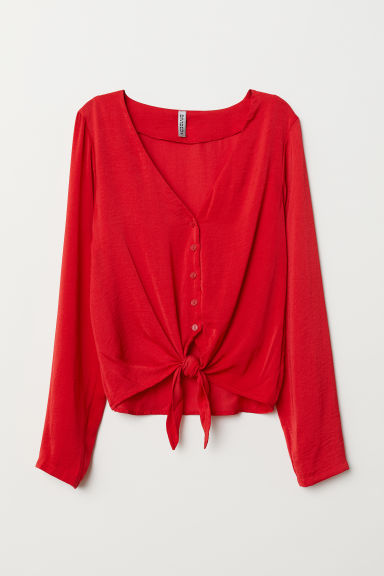 Tie-front V-neck blouse - Red -  | H&M GB