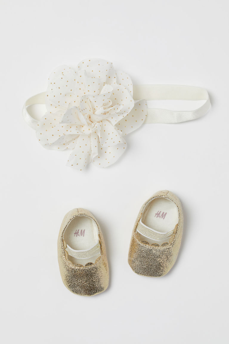 Ballet slippers and hairband - Gold-coloured -  | H&M