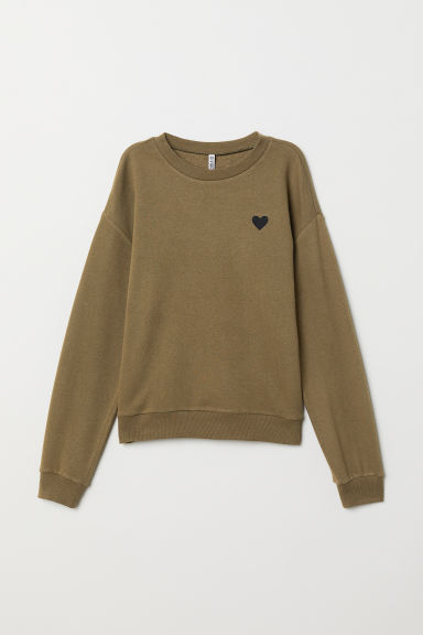 Sweatshirt - Khaki green/Heart - Ladies | H&M GB