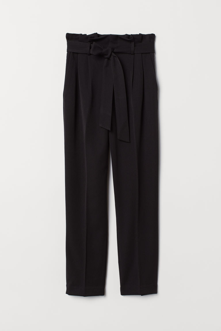 Paper bag trousers - Black - Ladies | H&M GB