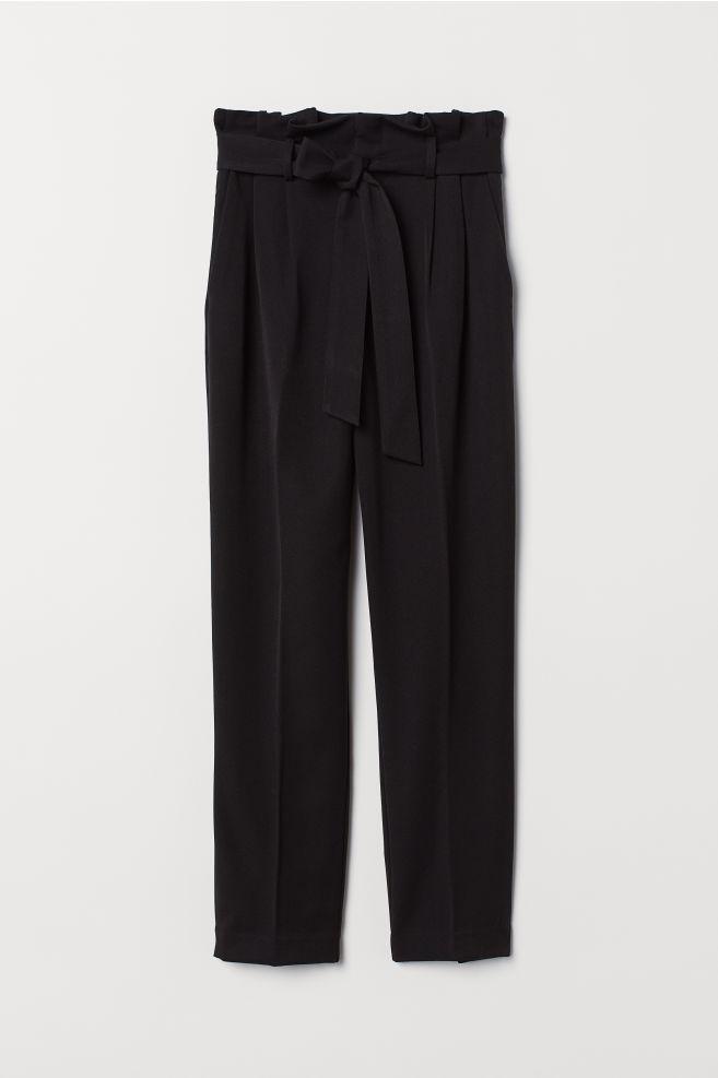 ba49b14560 Paper-bag Pants - Black - Ladies | H&M ...