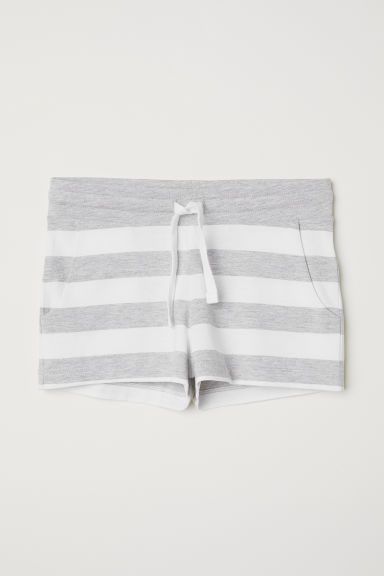 Short jersey shorts - Light grey/White striped -  | H&M