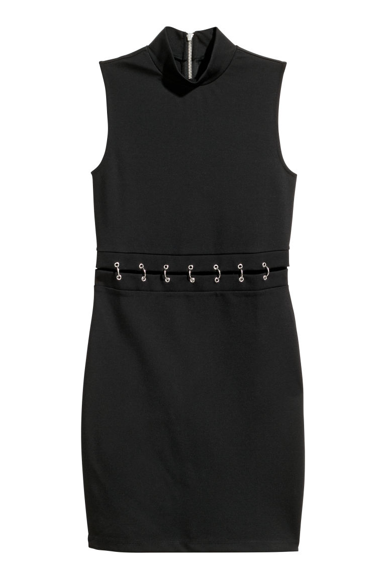 Fitted jersey dress - Black -  | H&M CN
