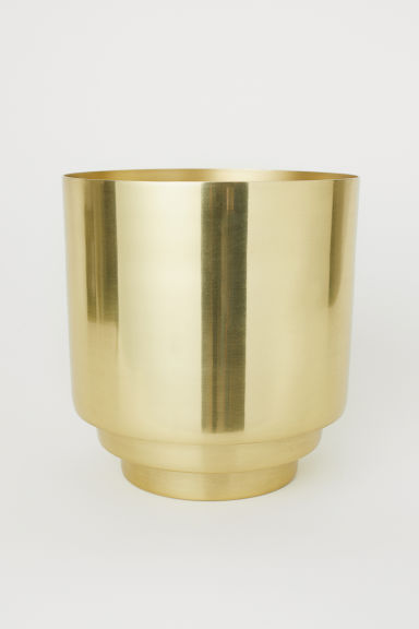 Large metal plant pot - Gold-coloured - Home All | H&M CN