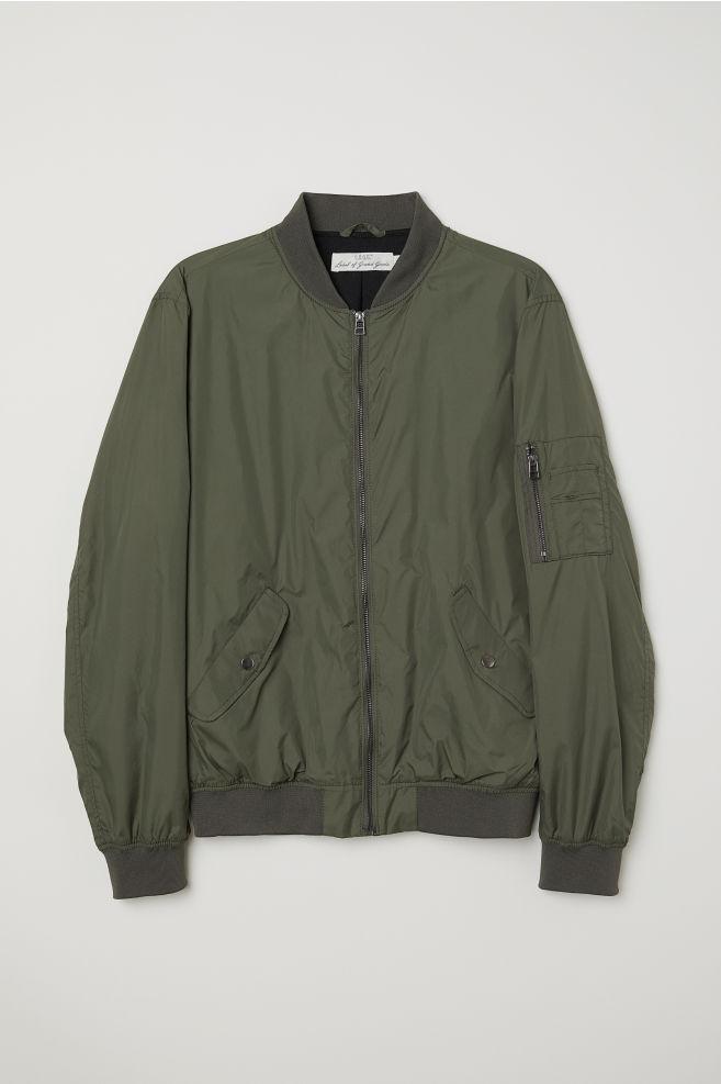 de799c49310 ... Nylon Bomber Jacket - Dark khaki green - Men