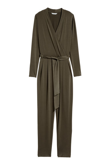Jumpsuit - Dark khaki green - Ladies | H&M IE