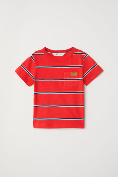 Slub jersey T-shirt - Red/Striped - Kids | H&M CN