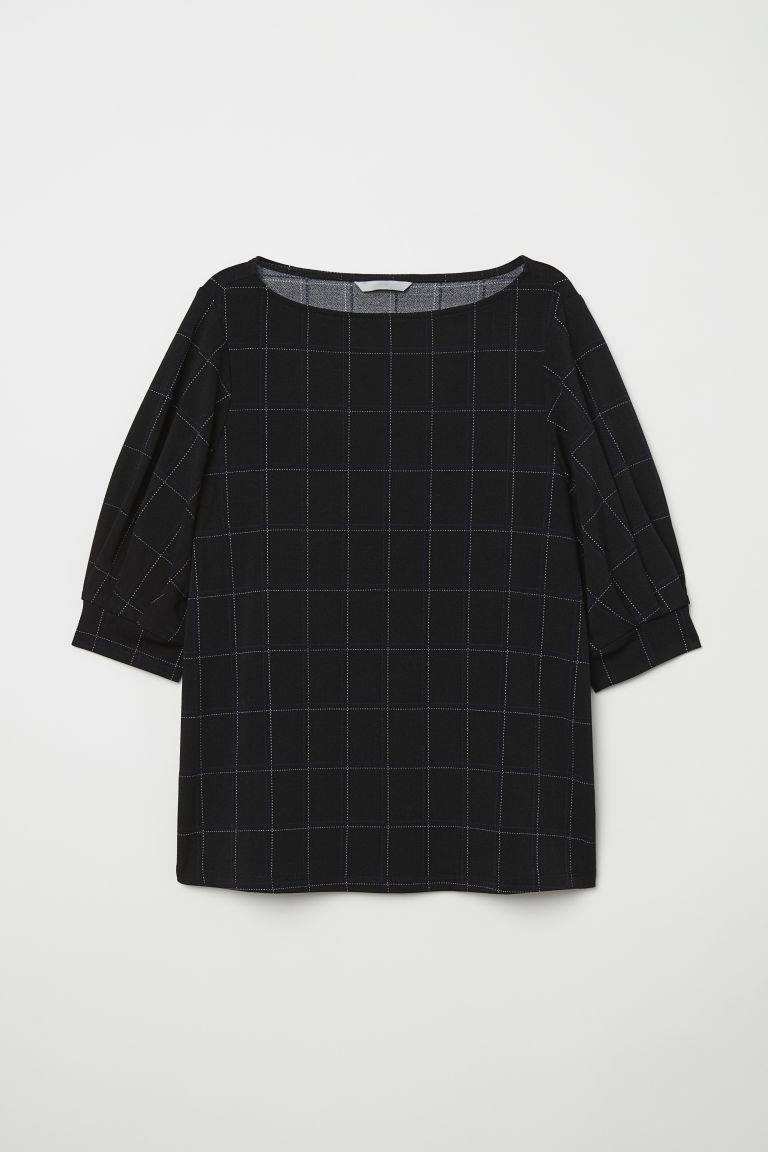 Jersey crêpe top - Black/Checked - Ladies | H&M CN