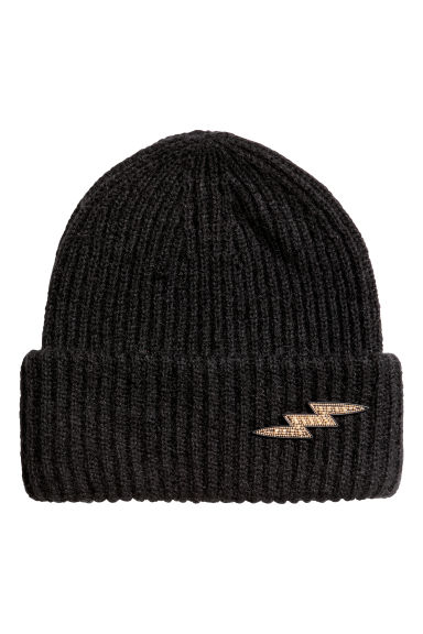 Ribbed hat - Black/Lightning -  | H&M